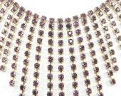 Purple Rhinestone Bib Necklace 1960s Art Deco Revival Vintage Jewelry FALL SALE