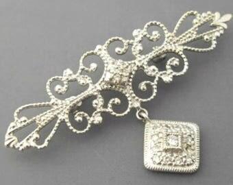 Victorian Revival Dangly Pin, Judith Jack Brooch, Mid Century Designer Vintage Jewelry SPRING SALE