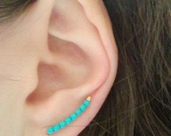 Turquoise ear cuff earrings - Ear climber - Turquoise earrings - Boho earrings - Bridal earrings - Bridesmaids earrings gift