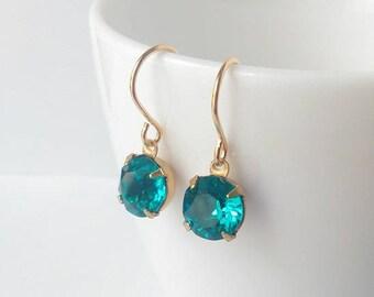 Teal crystal earrings - Swarovski crystal earrings - Bridesmaids earrings - Bridal jewelry - Gift - Everyday jewelry