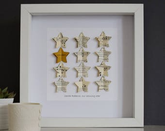 Gold Star Custom Artwork - Star Christening Personalized Gift - Star Congratulations Gift- Gold Star Graduation Gift - Star New Baby Gift