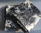 Toile Waverly Fabric Black and White Two Panels Country Life Print