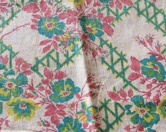 vintage FULL feed sack fabric -- green and yellow floral print