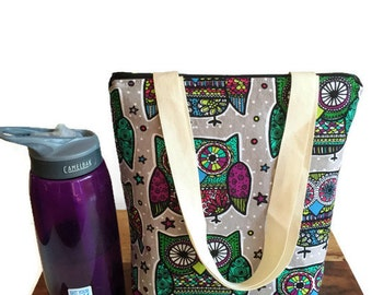 Reusable Lunch Bag, Lunch Tote for Women, Insulated Lunch Bag, Gift for Her, Insulated Lunch Box, Owl Lunch Bag, Owl Tote, Kids Lunch Bag