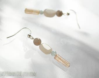 IRJA quartz earrings, agate dangle earrings, beryl morganite drop earrings, column dangle earrings, drop earrings, champagne cream earrings