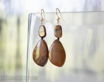 AGNES earrings, tigereye earrings, asymmetrical earrings, dangle earrings, gold filled earrings, asymmetrical earrings, agate earrings