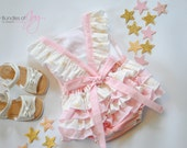 Twinkle Twinkle Little Star First Birthday Romper - Shooting Star Romper - Pink and Gold First Birthday Outfit