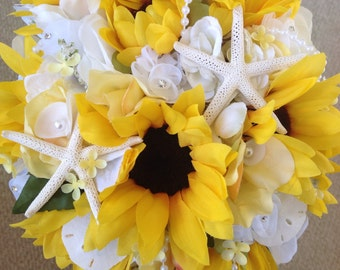 Sunflower Beach Wedding Bouquet with White Hydrangea Freesia Diamonds Pearls and Seashells