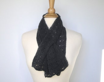 Charcoal Gray Pull Through Scarf, Cashmere Scarf, Keyhole Scarf, Neck Warmer, Luxury Natural Fiber, Women, Hand Knit