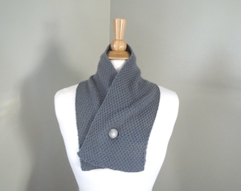 Cashmere Neck Scarf, Button Wrap Scarf, Men & Women, 100% Cashmere, Hand Knit, Medium Gray, Crossover Scarf