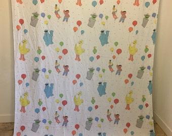 Vintage Bed Sheet, Sesame Street, Vintage Birthday, Sesame St Birthday BedSheet