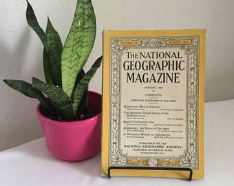 Vintage Magazine, August 1928,  National Geographic, free shipping US & Canada