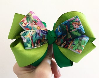 5 inch Peter Pan bow.  Christmas. Valentines Day.  Back to school.  Birthday girl. Ready to ship.