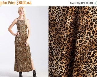 50% OFF ENTIRE STORE Vintage Maxi 90s Leopard Print Velvet Slinky Dress // Animal Print // Open Back