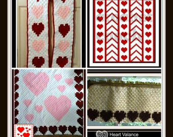 Love is in the Air 4 Pattern Set, C2C Graph with Word Charts