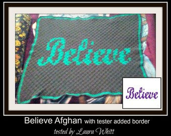 Believe Small Afghan, C2C Graph, Written Word Chart