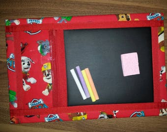 "Paws Patrol fabric chalkboard mat, 15 "" x 10 "", chalk & sponge included, does not roll up"