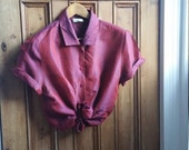Ladies vintage shirt size 16 burgundy red womens blouse top work clothing Dolly Topsy Etsy UK