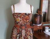 Ladies vintage dresses womens clothing summer dress size 12 medium dresses brown summer clothes boho retro festival Dolly Topsy Etsy UK