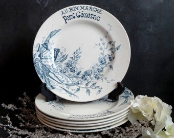 RARE !! Au Bon Marché. 6 French Antique Ironstone Transferware Dinner plates. Luneville.Keller Guerin Dinner Plates . French Vintage Plates