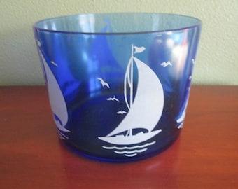 Moderntone Cobalt Blue with Sailboats Ice Bucket or Ice Bowl Hazel Atlas