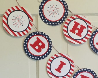 RED WHITE BLUE Stars and Stripes 4th of July Themed Party Happy Birthday or Baby Shower Banner Red White Blue-Party Packs Available