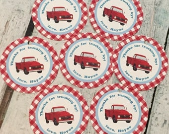 RED TRUCK Theme Party Happy Birthday Baby Shower Favor Tags or Stickers 12 {One Dozen} - Party Packs Available - Red Blue
