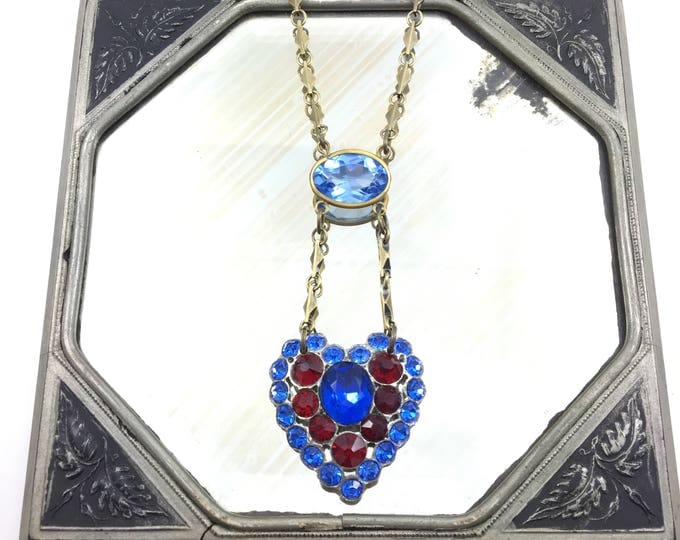 Vintage Rhinestone Heart Necklace with Bezel Set Blue Glass