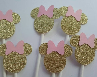 12 Minnie Mouse pink and gold cupcake toppers, party decoration, glitter toppers