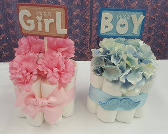 2 Gender reveal party mini diaper cakes centerpiece, baby shower decoration, mustache and hair bow
