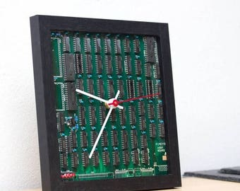 Desk clock for a techie, unique clock, recycled Computer clock, green circuit board clock, gift for men - ready to ship c3294