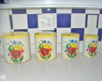 Vintage Canisters NC Colorware Retro Floral Set of 4 Yellow Lid Enamel Metal Canisters