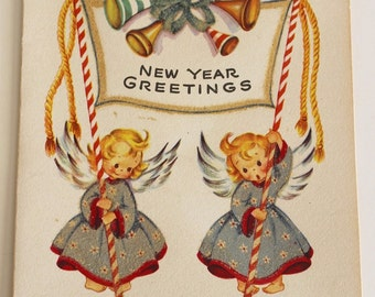 Vintage 1940s Glittery NEW YEAR GREETINGS Card - Angels with Banner (Unused)