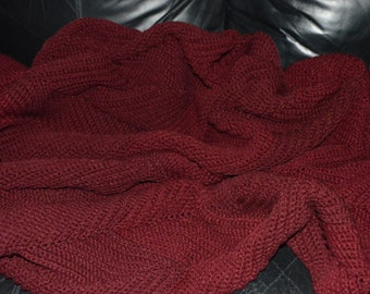 Large Crocheted Ripple Afghan in Claret