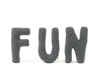 FUN - Letter Pillow / soft knitted lambswool pillow, cushion, decorative pillow