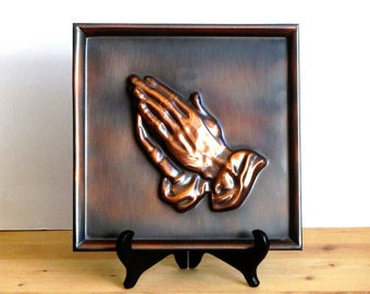 Coppercraft Guild Praying Hands Wall Plaque Repousse Metalwork Copper Art