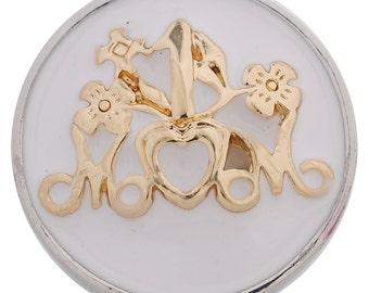 1 PC 18MM #1 Mom Enamel Silver Gold Candy Snap Charm kc5125 CC3238
