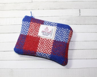 Patriotic coin purse, change purse, HARRIS TWEED purse, red/white/blue check pattern