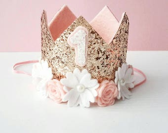 Birthday Crown - READY TO SHIP -  First birthday crown, 1st Birthday girl outfit, Cake smash, 1st Birthday hat, Rose gold crown