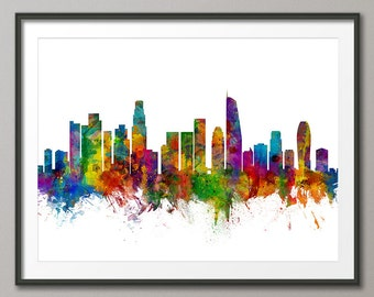 Los Angeles Skyline, Los Angeles California Cityscape Art Print (2656)