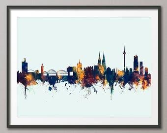Cologne Skyline, Koln Germany Cityscape Art Print (2814)