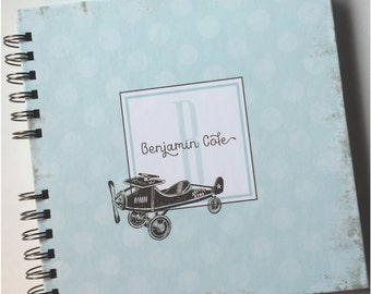 Baby Book |  Baby Memory Album | Aqua Blue Vintage Airplane Polka Dot Wire Bound Baby Memory Book