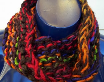 Outlander Inspired Chunky Hand Knit Infinity Scarf Chocolate Brown and Multicolor