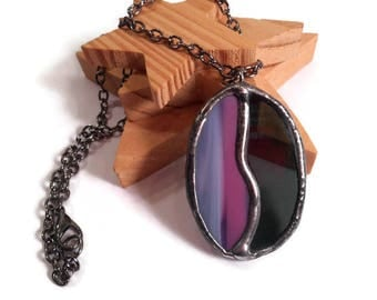 Stained Glass Pendant Black Pink Glass Jewelry Handmade Pendant Glass and Metal Jewelry Oval Statement Necklace Stained Glass Jewelry Unique