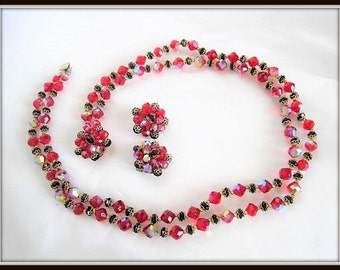 Red Black Crystal Necklace Earrings - Glass 2 strand Bib - Statement Necklace - Vintage Holiday Set