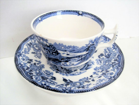 Blue White Cup Saucer -  Blue Tonquin Pattern - Royal Staffordshire England
