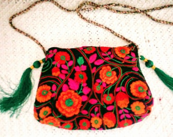 small shoulder bag, little pouch, embroidery and silk fringe purse, travel bag, night out bag, floral, handmade bag