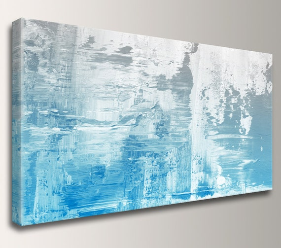 "Modern Art, Abstract Art, Painting, Canvas Art - Large Painting, Canvas Print, Blue, White, Grey - Modern, Abstract Print - ""Kinesis"""