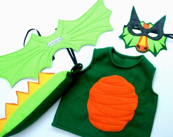 DELUXE Green Dragon Giftset, Includes Mask, Tail, Detailed Wings, Vest, and Fiery Breath Accessory