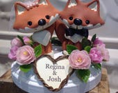 Fox cake topper with flower wreath for Cheryl